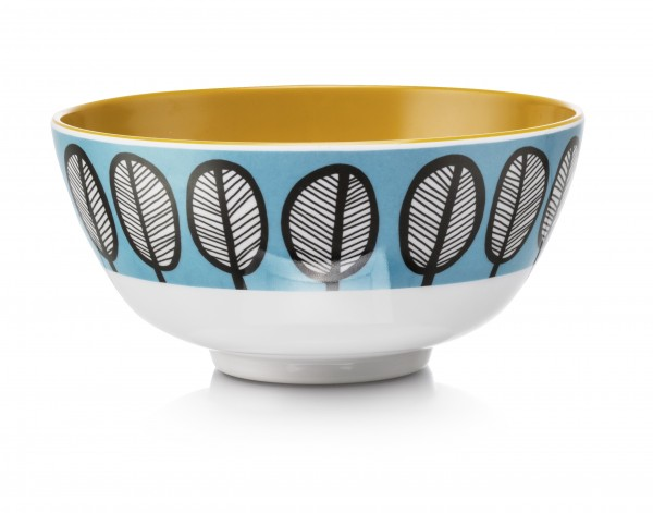 Melamine Bowl, TRIBAL LEAF BLUE