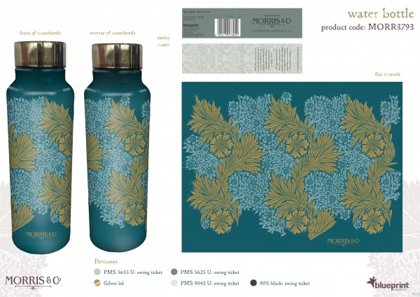 Water Bottle 750ml, Morris & Co.-Acanthus-