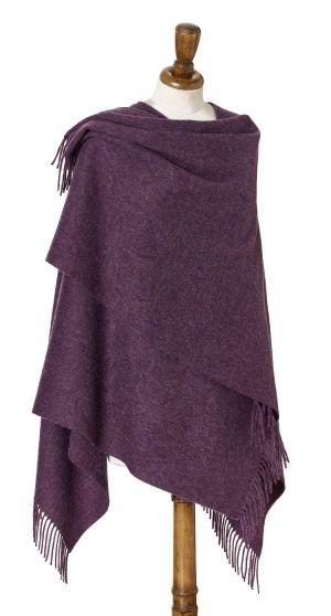 Merino-Mini Ruana 140 x 135cm, Plain - Purple Heather