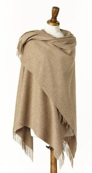 Merino-Mini Ruana 140 x 135cm, Plain - Camel