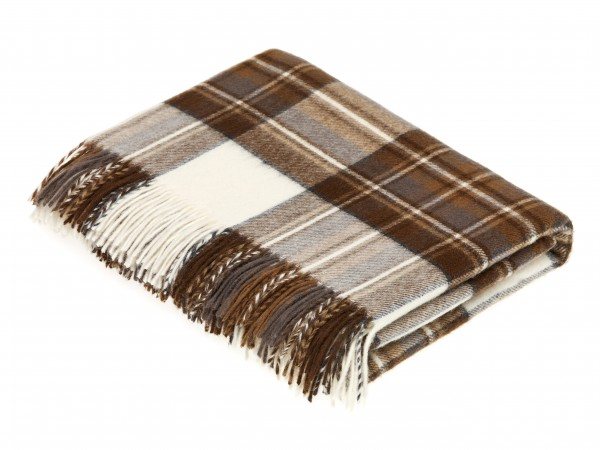 Merino-Decke – TARTAN Natural Dress Stewart, 140 x 185 cm