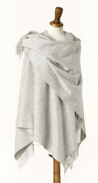 Merino-Mini Ruana 140 x 135cm, Plain - Silver