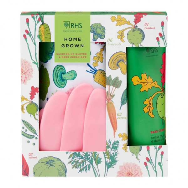 RHS HOME GROWN, Washing up Gloves & 100ml Handcream Set