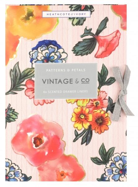 6 Scented Drawer Liners, Vintage Patterns & Petals