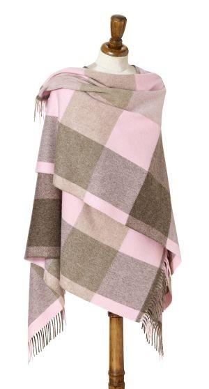 Merino-Mini Ruana 140 x 135cm, BLOCK CHECK Chocolate/Pink