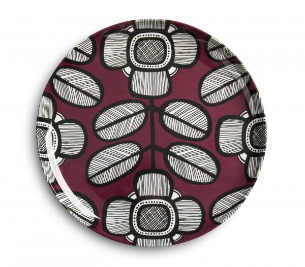 Melamine Plate 23cm, TRIBAL LEAF MAROON
