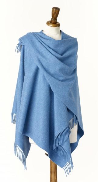 Merino-Mini Ruana 140 x 135cm, Plain - Oceano Blue