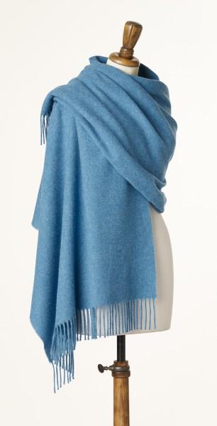 Merino-Stole 70 x 185cm, Plain - Oceano Blue