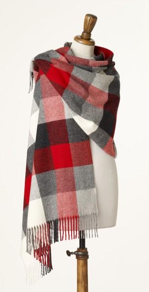 Merino-Stole 70 x 185cm, Darby - Red/Grey