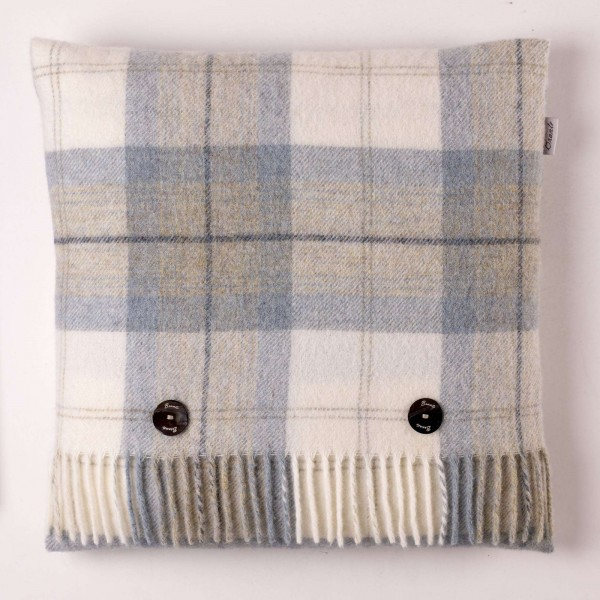 Shetland-Kissen - Skye Check Aqua, 40 x 40 cm