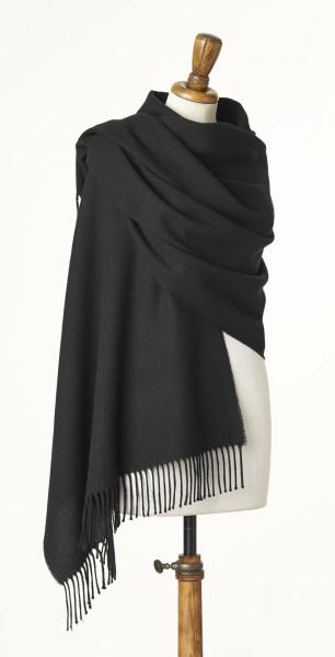 Merino-Stole 70 x 185cm, Plain - Black