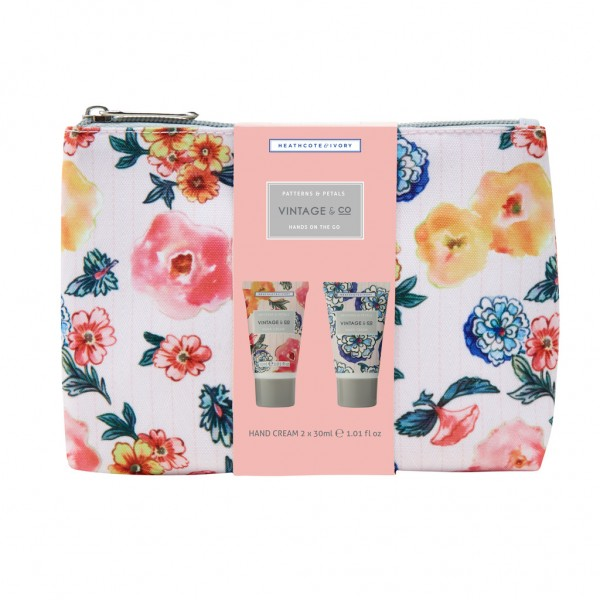 VINTAGE PATTERNS & PETALS, Hands On The Go Cosmetic Bag (2x 30ml)