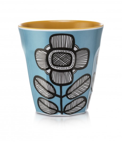 Melamine Beaker/Becher, TRIBAL LEAF BLUE