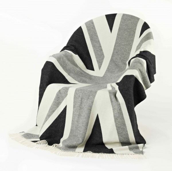 Merino-Decke - Union Jack Grey, 135 x 200 cm